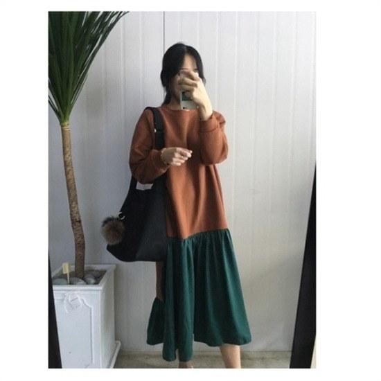 はいトト行き来するようにはいトト記憶のビロードのしわワンピース プリントのワンピース/ 韓国ファッション
