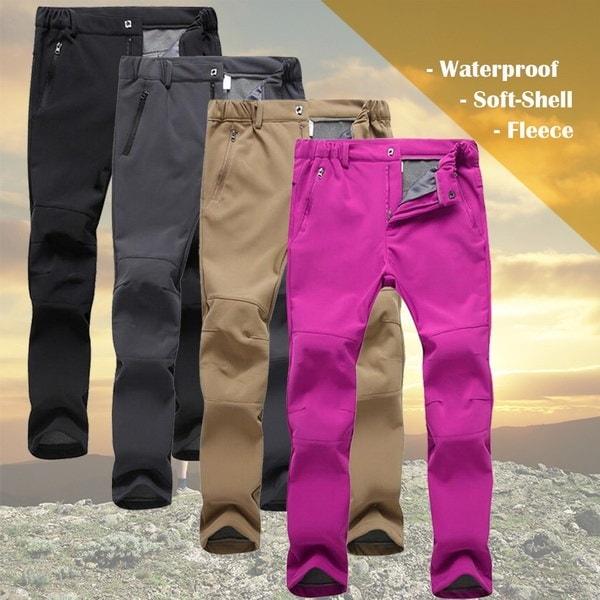 女性のSoftshell防水ハイキングマウンテンスリムフィットズボンフリースライニング