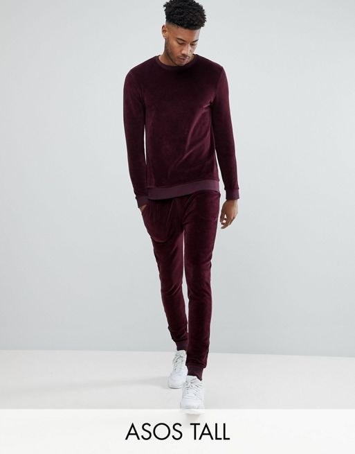 ASOS TALL Tracksuit Muscle Sweatshirt/ Super Skinny Joggers In Burgundy Velour