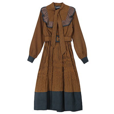 韓国ファッション フリル配色ワンピース(+ belt) Frill color dress (+ belt)