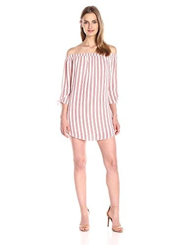 Lucca Couture Womens Off Shoulder Stripe Dress with Knotted Sleeves, White/Lipstick Stripe, X-Small