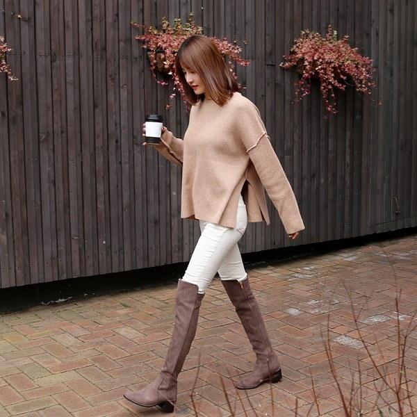 ミルク切開ニットティーnew 女性ニット/ラウンドニット/韓国ファッション