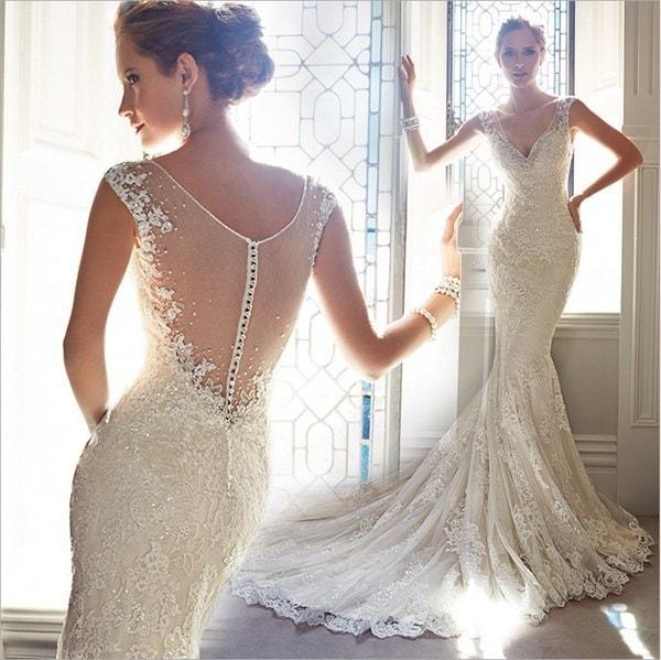 Luxury Rhinestone Mermaid Long Evening Dresses 2016 New White Crystal Beaded Sheer Prom Dress Vestid