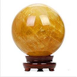 (イスイ)YISHUI 天然 黄水晶 シトリン 天然水晶 浄化 さざれ石 クリスタルボール 装飾品 イエロー 木製台付き (3cm)