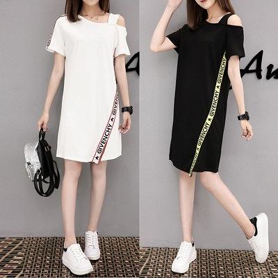 2020年夏の新しい韓国のプロのすべての一致漏れやすいショルダードレス緩いミドル丈の不規則な半袖スカート