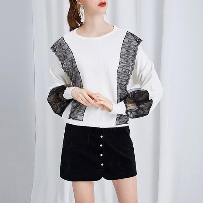 【韓国ファッション 新商品】レース ニット/ニット トップス/Tシャツ/ロングTシャツ/レディースファッション/韓国ファッション 春 _233987