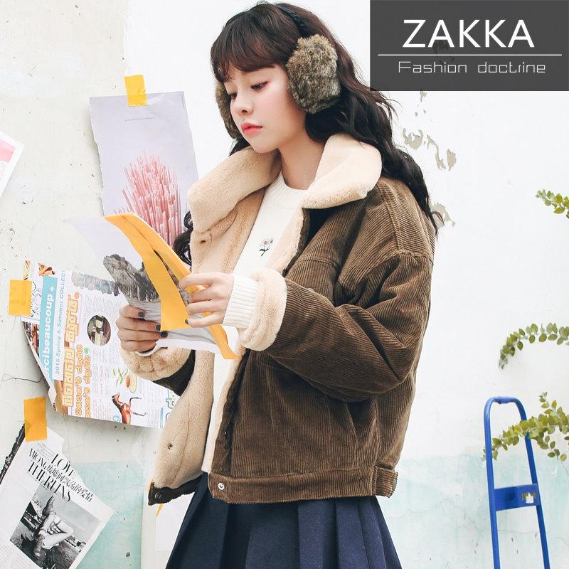 【送料無料】人気 新型 ★★ZAKKA★★  韓国ファッション  レディース服/韓国 コート/アウター/ショートコート/大きいサイズ/ジャケット/コットン