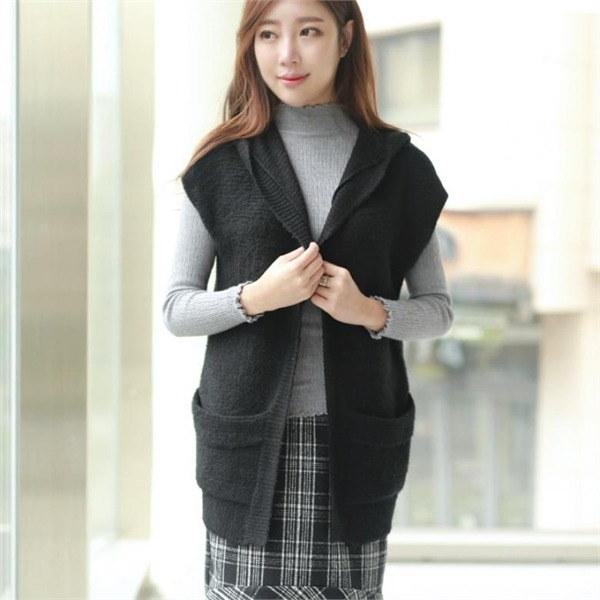 スリエンフードアルパカチョッキGVT001 女性のジャケット / 韓国ファッション/ジャケット/秋冬/レディース/ハーフ/ロング/