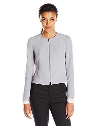 Anne Klein Womens Zipper Front Jacket, Grey Stone, 10