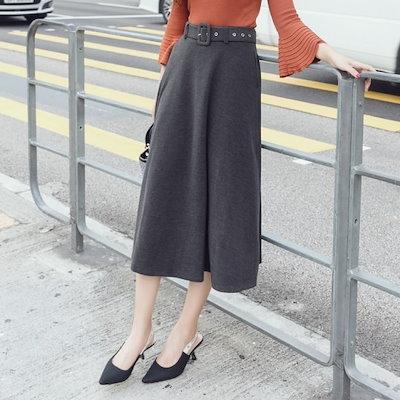 ミモレ丈 フレアカート 可愛い ロングスカート レディース Aラインスカート ベルト付き 秋 冬 ウール混スカート 体型カバー 大きいサイズ 20代 30代 40代 レディースファッシ
