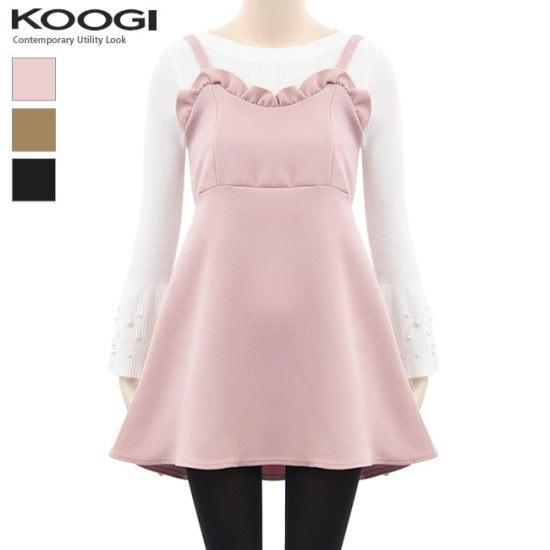 釘宮フリルひもフレアワンピースKL1OP107A 綿ワンピース/ 韓国ファッション