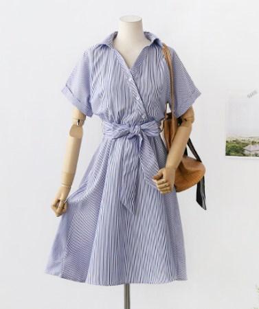 斜線ボタンストライプパターンラップスタイルフレアシャツワンピース30413デイリールックkorea women fashion style