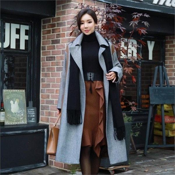 スタイルオンミフレンチヘリンボーントレンチコート 女性のコート/ 韓国ファッション/ジャケット/秋冬/レディース/ハーフ/ロング/