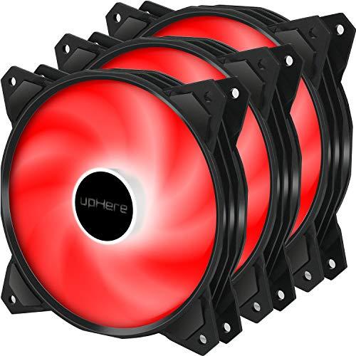 uphere 120mm PCケースファン 静音タイプ 1300rpm 3PIN 赤いLED 3本 【PF120RD3-3】