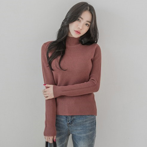 【WhiteFox]半ハイネックスリムフィットニットkorea fashion style free shipping