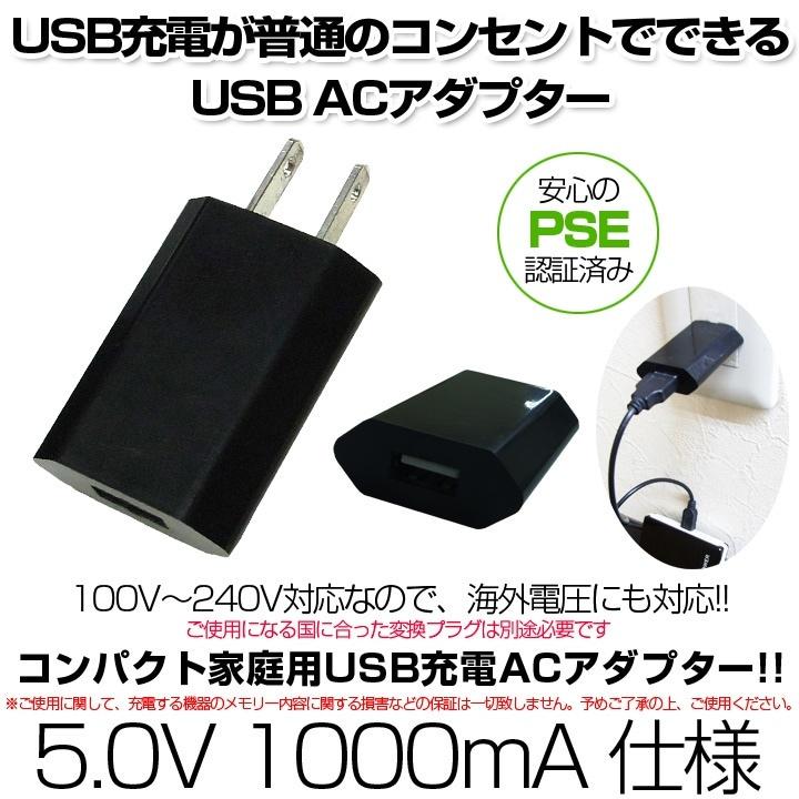 USB充電が普通のコンセントでできるUSB ACアダプター 【メール便送料無料】【安心のPSE認証済