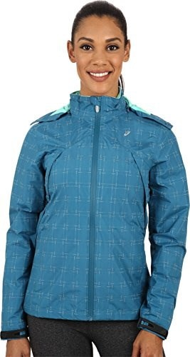 ASICS Womens Performance Run Storm Shelter Jacket Mosaic Blue Outerwear SM (US 6-8)