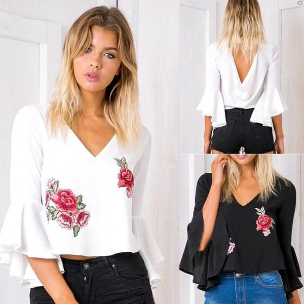 女性セクシーなルース刺繍ホーン型スリーブショートシャツ