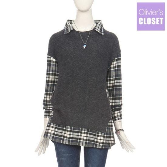 オルリビエス・クローゼットオルリビエス・クローゼットチェック配色シャツ型ニートO1710KN064D ニット/セーター/パターンニット/韓国ファッション