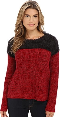 TWO by Vince Camuto Womens Long Sleeve Marled Eylelash Yoke Pullover Crimson Sweater MD (8-10)