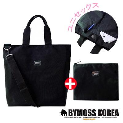 BYMOSS[BYMOSS] 2WAYバッグ+オマケポーチ セットM015  Modern Black /Tote-Bag + Pouch/男女共用