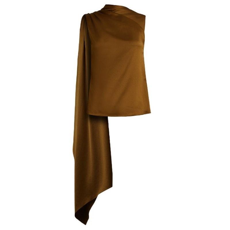 オスマン レディース トップス【Diana draped-panel asymmetric satin top】Deep olive-green