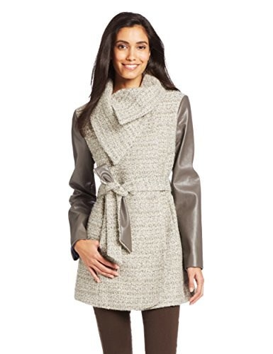 T Tahari Womens Alba Belted Tweed Coat with Faux Leather Sleeves, Mink Macrame, Small