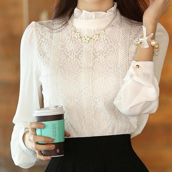 Chemise Femme Blusa De Rendaシフォン白シャツレースブラウスレディースブラウス2016韓国のファッション布