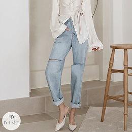 「DINT」 ★送料無料★PJ402♥オーバーフィット·カット·デニム·パンツ♥セレブ系オフィススタイル♥韓国ファッションブランドDINTのオシャレなオフィススタイル提案!