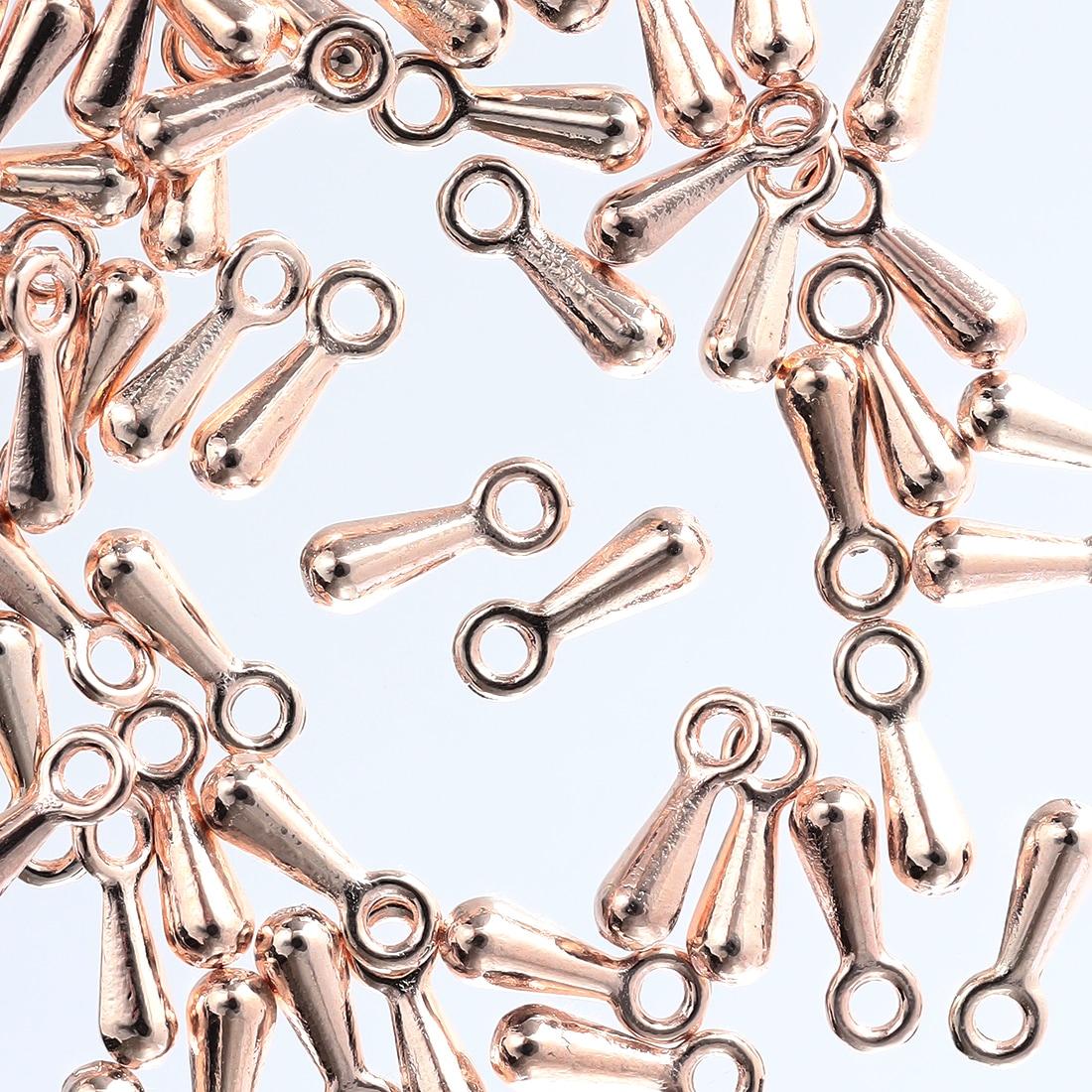 アジャスター チェーン 用 金具 しずく 型 ピンクゴールド 50個 ネックレス パーツ 雫 チャーム エンドパーツ メタルパーツ アクセサリーパーツ AP1990
