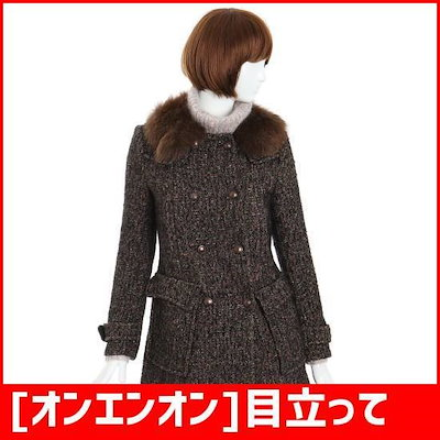 [オンエンオン]目立って・ツイードダブルコート(NW3WH593)@毛カラ /ハーフコート/コート/韓国ファッション
