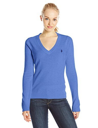 U.S. Polo Assn. Juniors Solid V-Neck Pullover, Dazzling Blue Combo, Large