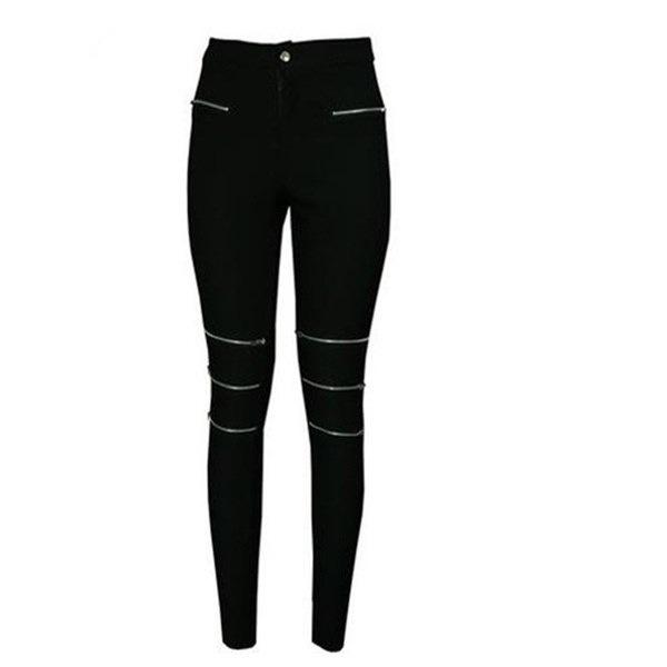 Softgrass Fashion zipper hollow out thin leg slacks