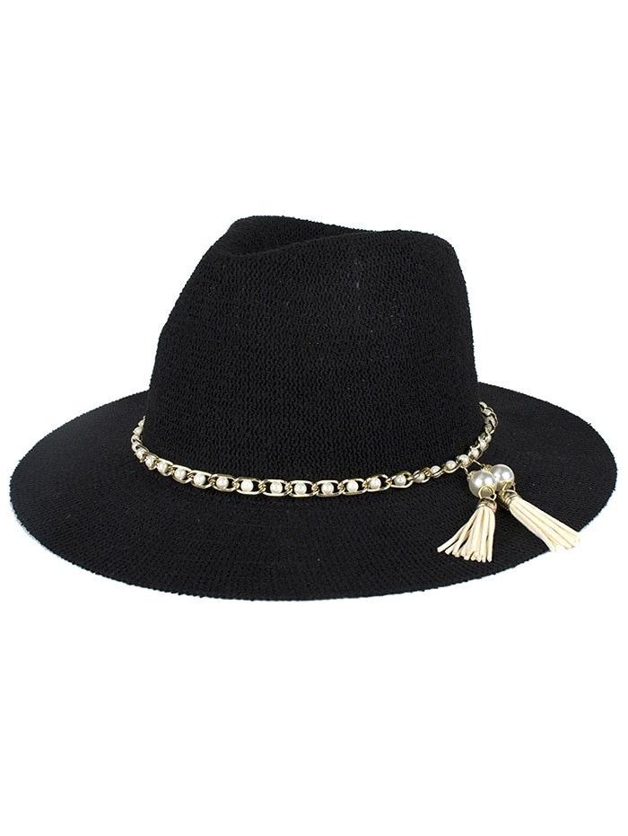 女性のためのスタイリッシュな偽の真珠のタッセルチェーンアンチUVジャズサンハット