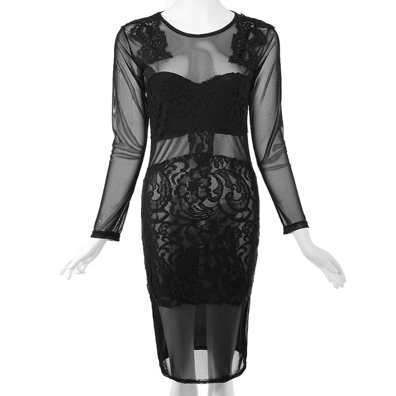 女性のためのセクシーなジュエルネックロングスリーブボディコンレースドレス