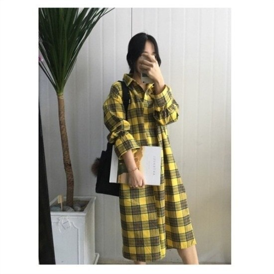 はいトト行き来するようにはいトトチェックロングカラワンピース プリントのワンピース/ 韓国ファッション