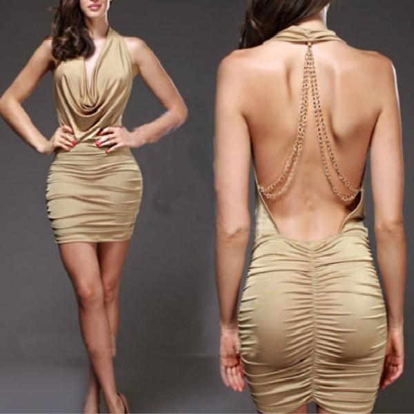 メタルチェーン深いVネックぶら下げセクシーなバックレスドレスエレガントなイブニングドレス