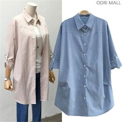 ルーズフィット小売ロールアップ南方 女性ブラウス/シャツ/その他/韓国ファッション