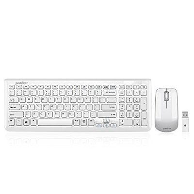 ペリックス PERIDUO-710W 無線キーボード+マウスセット 暗号化機能搭載 英語配列 ピアノ風ホワイト