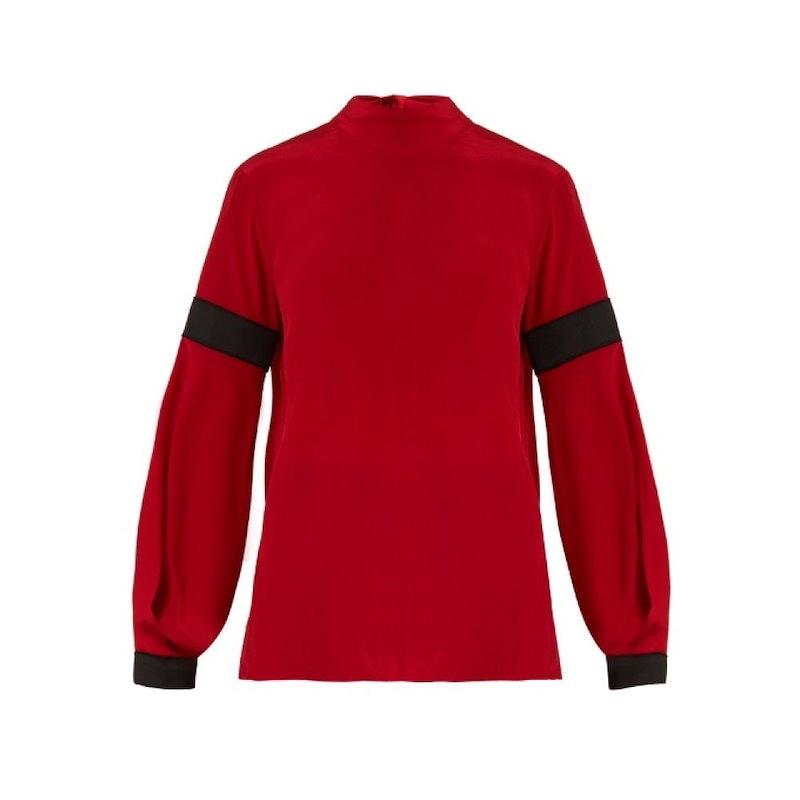 アマンダ ウェイクリー レディース トップス ブラウス・シャツ【High-neck bi-colour silk crepe de Chine blouse】Scarlet-red