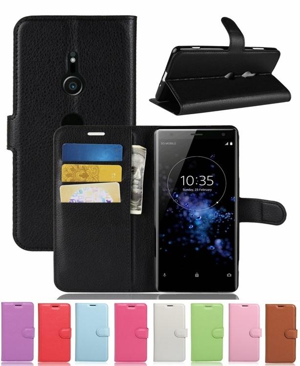ソニー エクスペリア SONY Xperia XZ3用レザーケース カード収納付き 手帳型 ポケット付き Xperia XZ3用財布型保護カバー マグネット横開き スタンドカバー2つ折り【I369】