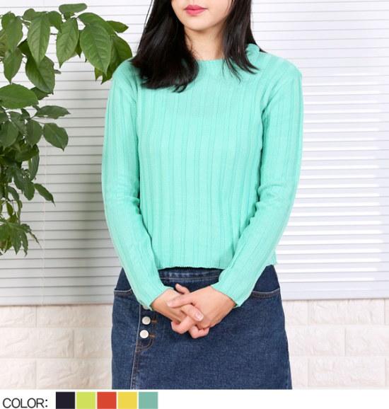 ピトンジンピトンジンピトンジンYUWG1494女ゴルジラウンド長い腕ニットティーD D ニット/セーター/ニット/韓国ファッション