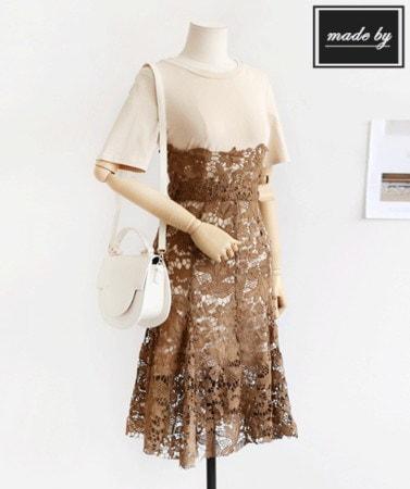 [B12210]半袖ワンピースロンチ ハイウエストレースのスカートコーディネートセットデイリールックkorea women fashion style