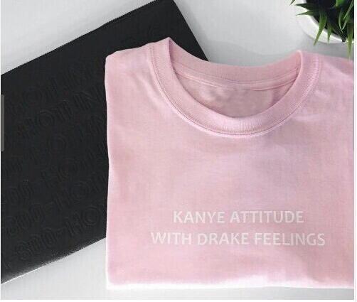 ドレーク感情のカニエの態度手紙ストリートスタイルスポーツユニセックスのTシャツ