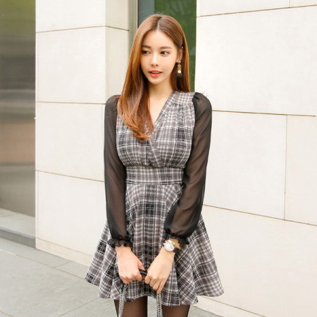 [Tom n Rabbit] Oscar One Piece Check One Piece Mini Dress One Piece Chiffon One Piece korean fashion