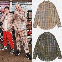 《送料無料》[UNISEX] BTS VWINNER MINO st. チェックパターンロングスリーブシャツ(2color)