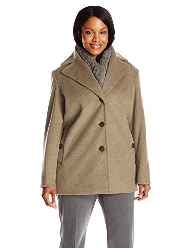 Calvin Klein Womens Plus Size Single Breated Wool Coat, Oatmeal, 2X
