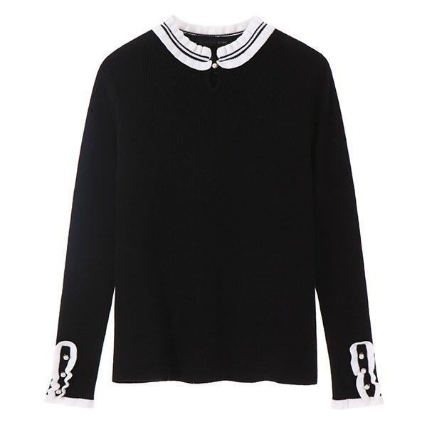 [韓国直送] 【オリーブデオリーブ] frill neck pearl pullover OK8SP706