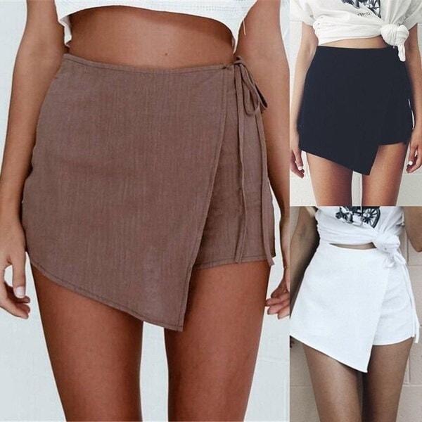 女性セクシーなハイウエストラップのお尻スカートファッションミニ不規則なショートスカート - うわー