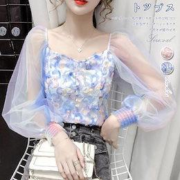 FC601  短いシャツ女性2021春夏新型超仙色花柄襟セクシーなレース上着
